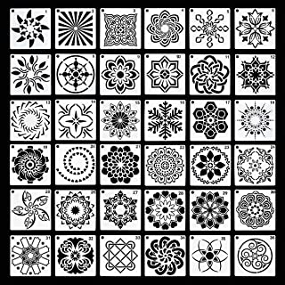 36 Pack Mandala Stencils (3.6x3.6 Inch) Mandala Dotting Painting Template Stencil Set for Painting Perfect for DIY Paintin...