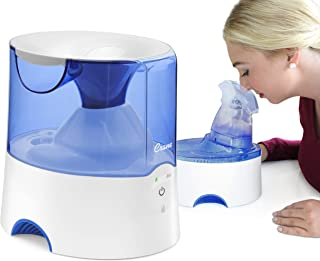 Crane 2 in 1 Personal Steam Inhaler & Warm Mist Humidifier, 0.5 Gallon, Filter Free, Whisper Quite, Germ Free Mist, for Home Bedroom and Office, Blue & White