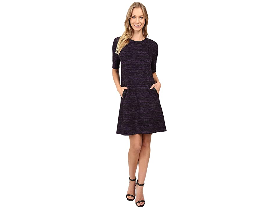 Donna Morgan A-Line Shift Dress with Faux Leather (Black/Syrup) Women