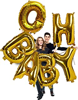 Treasures Gifted Gold Foil Oh Baby Decorations for Baby Shower Balloons Huge 40 Inches Letters Sign for Baby Reveal Party Boy or Girl Gender Neutral Helium Quality Decor