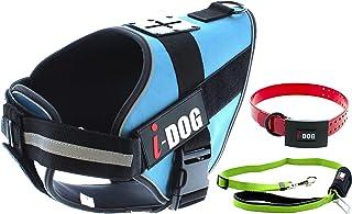 i-Dog Pack Harnais Chien NEOCAM Collier Rouge + Laisse avec Attache Voiture Verte (S, Bleu)