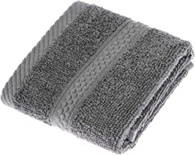 HOMESCAPES Turkish Cotton Face Towel Flannel Grey Charcoal Very Soft and Absorbent, 500 GSM Heavy Weight for everyday