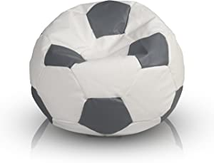 Ecopuf Fußball Ball Sport S Größe, voller Sitzsack, aus Öko-Leder, Ideal für Kinder, 35x55 cm, Füllung: 90L