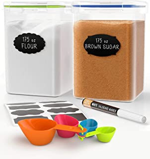Extra Large Tall Food Storage Containers 175oz, For Flour, Sugar, Baking Supplies - Airtight Kitchen & Pantry Bulk Food Storage, BPA-Free - 2 PC Set - Measuring Scoops, Pen & 8 Labels - Chef's Path