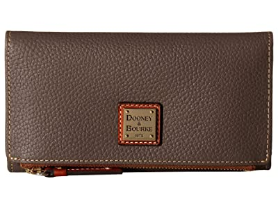 Dooney & Bourke Pebble Fold-Over Wallet (Elephant/Tan Trim) Wallet Handbags