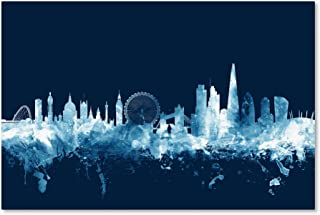 London England Skyline Navy by Michael Tompsett, 16x24-Inch Canvas Wall Art