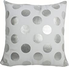 "Urban Loft by Westex Foil Dots Large Silver Polyester Filled Decorative Throw Pillow Cushion 18"" x 18"""