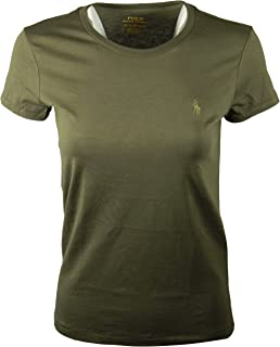 RALPH LAUREN Polo Womens Crewneck Pony Logo Tee (X-Small, Military Green)