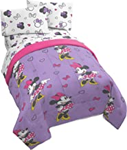 Jay Franco Disney Minnie Mouse Purple Love 4 Piece Twin Bed Set - Includes Reversible Comforter & Sheet Set - Super Soft Fade Resistant Polyester - (Official Disney Product)