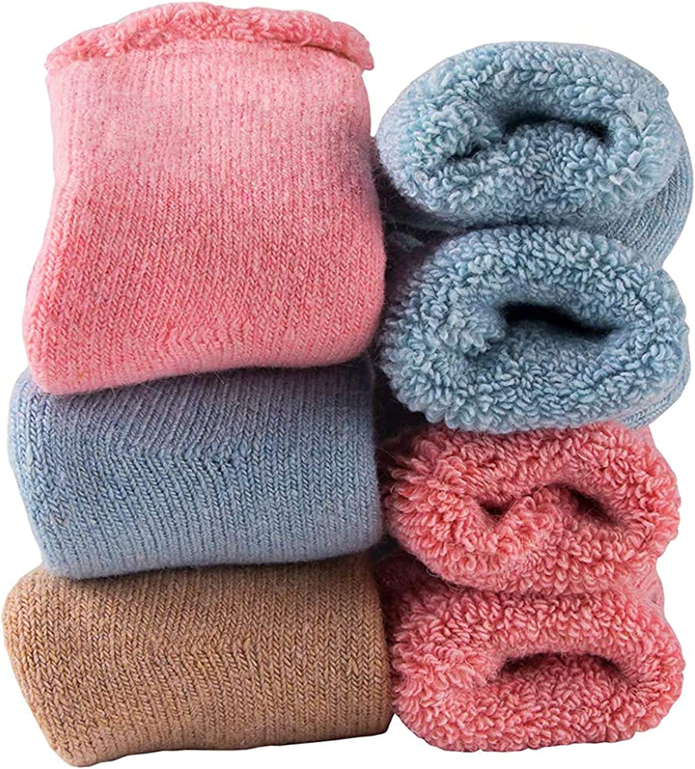 Baby Toddler Thick Wool Socks - Super Warm Soft Winter Solid Color Casual Crew Socks For Baby Girls Boys(Pack of 3)