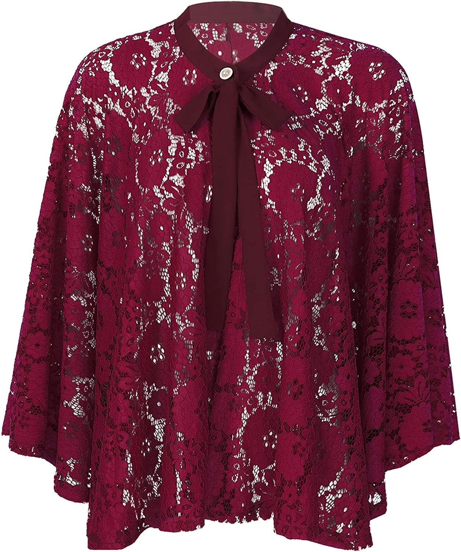 YONGHS Womens Shrugs Lace Open Front Bolero Cardigan Outerwear Shawl Evening Wedding Cape Tops