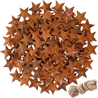 150 Pieces Christmas Rusty Metal Stars Xmas Rusty Stars with Hole and Twine for Christmas Tree Decoration Craft Supplies