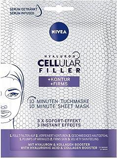 NIVEA Hyaluron Cellular Filler  Kontur 10 Minuten Tuchmaske im 1er Pack 1 Stück, Gesichtsmaske mit Anti-Falten Wirkung, verfeinernde Gesichtspflege