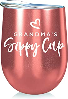 Grandma Gift Insulated Wine Tumbler - 12oz with Steel Straw, BPA Free Lid, Straw Cleaning Brush - Stainless Steel Stemless Wine Tumbler - Grandma's Sippy Cup - Coffee, Tea, White Wine