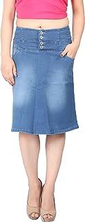 FCK-3 Women's Designer Waist Silky Stretchable Denim A-Line Skirt