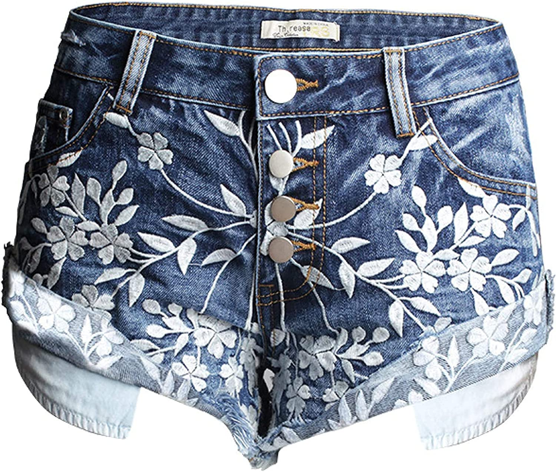 Women' Denim Hot Shorts Summer High Waist Hem Curling Summer Fashion Printing