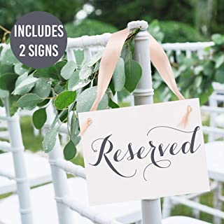 Set of 2 Reserved Signs Wedding Chair Seat Banners for Ceremony Reception Wedding Bridal Party or Family | White Linen Textured Cardstock with Pale Blush Pink & Slate Gray