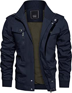 TACVASEN Mens zomer Cargo jas lichtgewicht herfst leger militaire jas met zakken