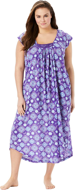 Dreams & Co. Women's Plus Size Whisperweight Gauze Nightgown