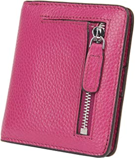 BIG SALE-AINIMOER Women's RFID Blocking Leather Small Compact Bifold Pocket Wallet Ladies Mini Purse with id Window (Purple)
