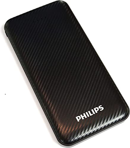 Philips DLP6716CB Fast Charging Power Bank 10000mAh with Lithium Polymer Battery Black Dual USB Output Port with Micro USB and Type c Input