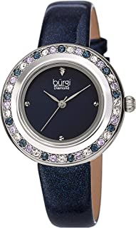 Burgi Swarovski Colored Crystal Watch - Genuine Diamond Marker on a Glittered Leather Strap Elegant Women's Wristwatch - Mothers Day Gift - BUR265