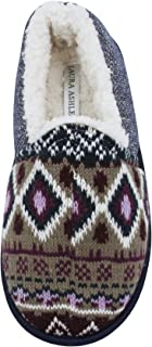 Laura Ashley Ladies Knit Closed Back Slippers with Faux Sherpa Lining (See More Colors and Sizes)