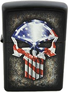 Zippo Custom American Flag Punisher Punisher Skull Lighter - Matte Black