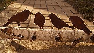 Dewoga Oiseaux patinés avec vis à visser dans le bois, 4 oiseaux en métal.
