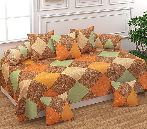 FESTIVAL HOME FURNISHINGS Polycotton 400TC Diwan Set (60X90 Inch Bedsheet 16x16inch Cushion Covers 18x28 inch Bolster...