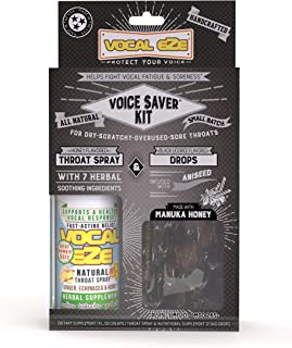 Vocal Eze Voice Saver Kit, Includes Vocal Herbal Throat Spray (1) and (12) Aniseed Manuka Honey Drops | Relieve Sore, Hoarse, Fatigue, Dryness of Throat, Voice Support
