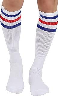 Joulli Triple Stripes White Knee High Tube Socks 1-3 Pairs