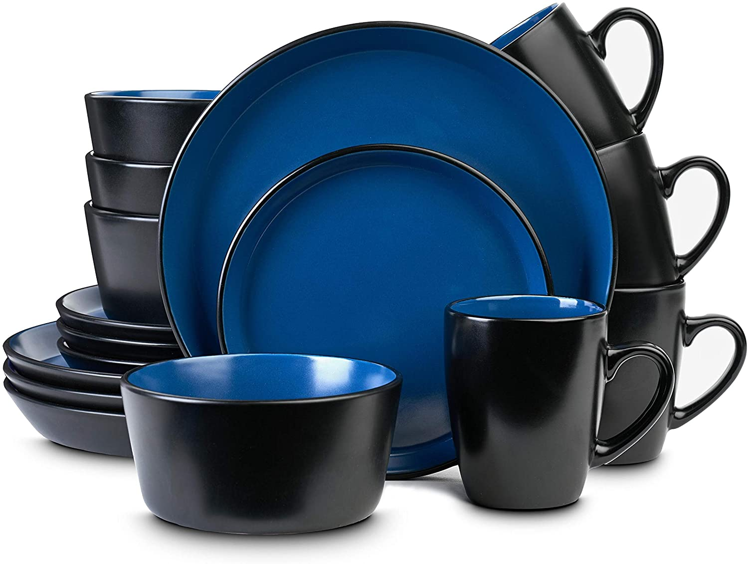 Stone Selling and selling Lain Stoneware lowest price Dinnerware Set Service For Bla Blue and 4