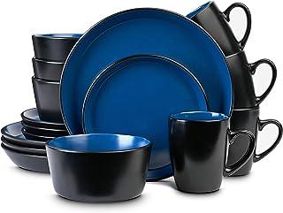 Sponsored Ad - Stone Lain Stoneware Dinnerware Set, Service For 4, Blue and Black