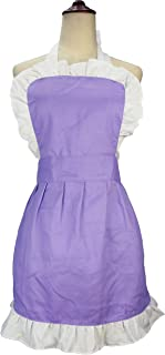 LilMents Women's Ruffle Outline Retro Apron Kitchen Cake Baking Cooking Cleaning Maid Costume (Purple)