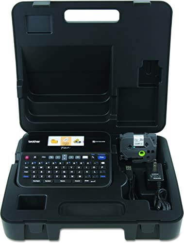 Brother P-touch, PTD600VP, PC-Connectable Label Maker with Full Color Graphical Display, Case, Split-Back Tapes, 14 F...