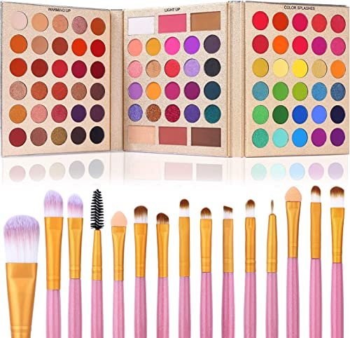 UCANBE Pro Eyeshadow Palette + 15 Pcs Makeup Brush Set,Pigmented Makeup Pallet with Brushes, Matte Shimmer 86 Colors ...