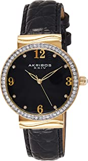 Akribos XXIV Women's Glimmer Analogue Display Japanese Quartz Watch with Leather Strap
