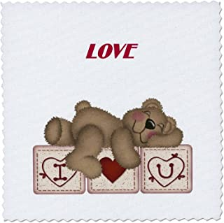 3dRose qs_37319_1 Adorable Teddy Bear on I Luv U Blocks-Quilt Square, 10 by 10-Inch