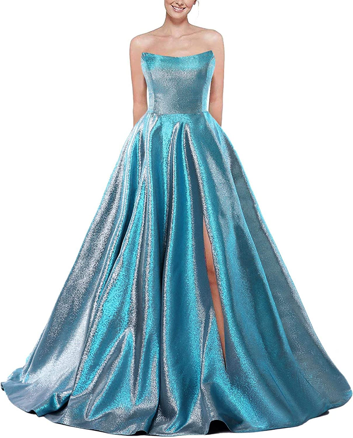 P PROMSTAR Strapless Prom Dresses 2021 Long Satin A Line Ball Gown with Slit for Women