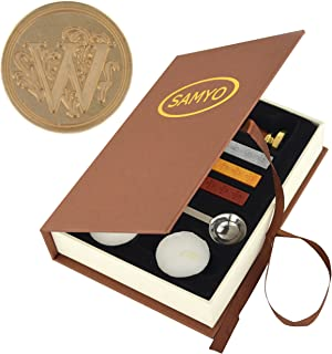 Samyo Wax Seal Stamp Kit Retro Creative Sealing Wax Stamp Maker Gift Box Set Brass Color Head with Vintage Classic Alphabet Initial Letter (W)