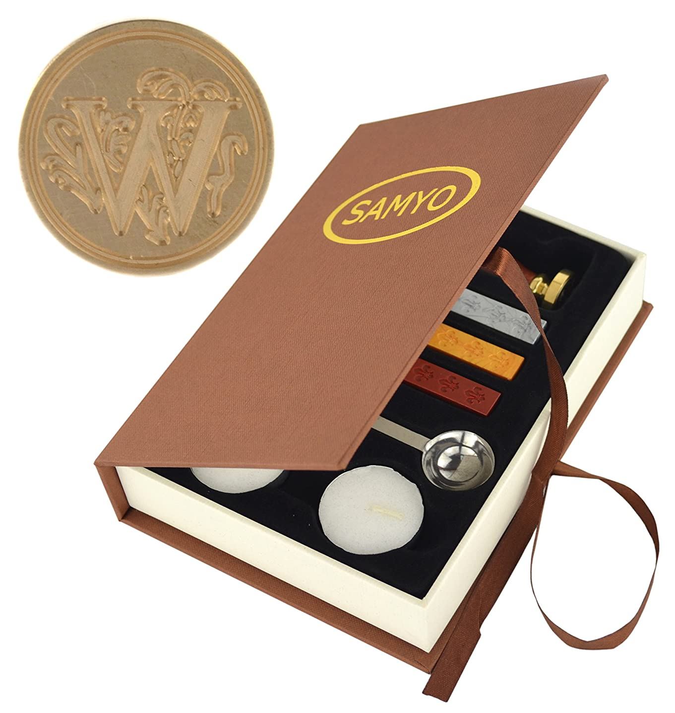 Stamp Seal Sealing Wax Vintage Classic Old-Fashioned Antique Alphabet Initial Letter Set Brass Color Creative Romantic Stamp Maker (W)