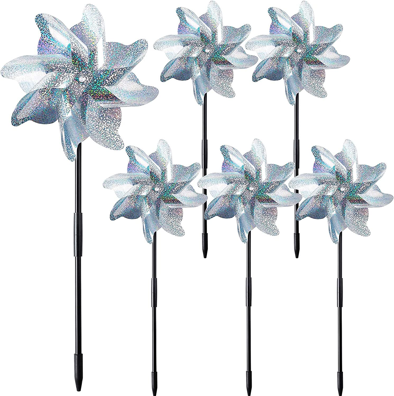 NOVWANG 6 PCS Reflective Pinwheels with Stakes, Extra Sparkly Pin Wheel for Garden Yard Decor, Bird and Animal Deterrent Device to Scare Birds Away from Patio Farm