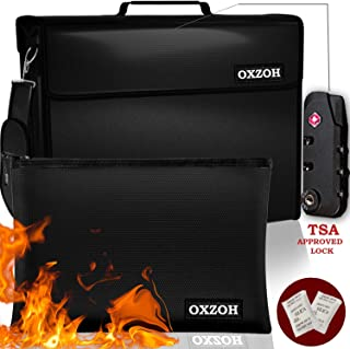 Fireproof Bag with TSA Approved Lock | Fireproof Document Bags XXL Size (17 x 12 x 6 inch) & A4 Size | Waterproof Fireproof Document Box | Firebox for Document Storage | Firebag Safe Cash Holder