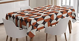 """Ambesonne Mid Century Tablecloth, Repeating Bicolor Circles in Vertical Order with Varying Directions, Dining Room Kitchen Rectangular Table Cover, 60"""" X 84"""", Seal Brown"""