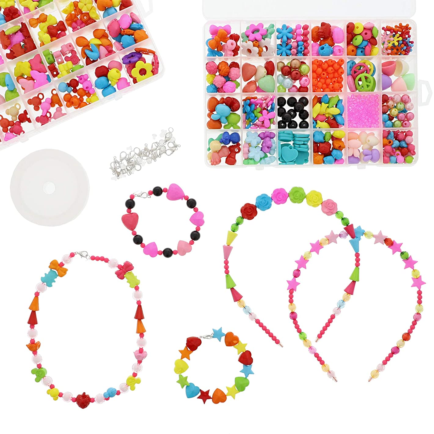 Genie Crafts 2-Pack Bead Cases - Kids DIY Jewelry Making Kit for Headbands, Bracelets, and Necklaces, 48 Assorted Designs