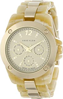 Anne Klein Women's AK/1004IVHN Resin Gold-Tone Multi-Function Horn Resin Bracelet Watch