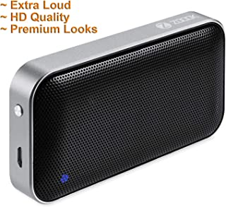 Zoook Aluminum body,leather cover - Premium Ultra Small 6W Bluetooth Speaker with Deep BASS and Long Playing time,Free carrying Pouch - Black
