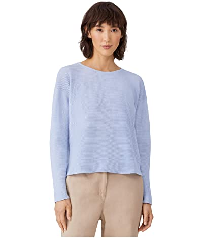 Eileen Fisher Organic Linen Cotton Crew Neck Box Top (India Sky) Women