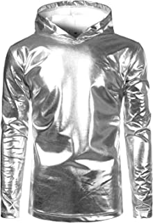 SOWTEE Mens Metallic Shiny Disco Nightclub Style Long Sleeve Pullover Hoodie